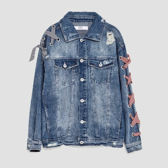 994485f0 Zara Jackets & Coats   Denim Jacket With Bows   Poshmark